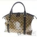 Authentic GUCCI  2WAY GGpattern Shoulder bag Leather xNylon