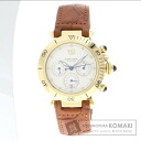 Authentic CARTIER Pasha de Cartier Watch 18K Yellow Gold Leather  Men