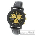 Authentic BVLGARI Bvlgari Watch Leather Carbon  Men