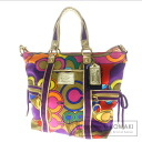 Authentic COACH  2WAY colorful pattern Shoulder bag Nylonx Leather