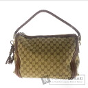 Authentic GUCCI  GGpattern Bamboo Shoulder bag Canvas Leather