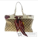 Authentic GUCCI  GGpattern scan Calfskin design Shoulder bag Canvas Leather