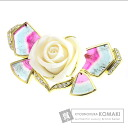 Authentic Hisako Shiraishi  Tourmaline / diamond rose Brooch 18K Yellow Gold