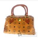 Authentic MCM  Logo pattern Handbag PVCx Leather