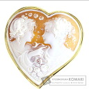 Cameo Heart Top Brooch 18K Yellow Gold  23.5