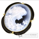 0.012ct Stone Cameo top diamond Brooch 18K Yellow Gold  14.4