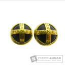 CHANEL Clip letter design earrings women's metallic