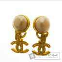 CHANEL metallic women's earrings, Pearl motif Coco mark