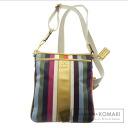 COACH color striped design logo shoulder bag leather x nylon material ladies