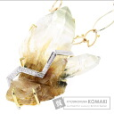 Authentic Sachi  Quartz / Diamond Necklace 18K Yellow Gold K18WG