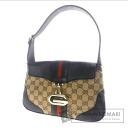 Authentic GUCCI  Webbing line GG pattern Handbag Canvas x Leather