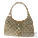 Authentic GUCCI  GGpattern engraved logo Handbag Canvas x Leather