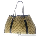 Authentic GUCCI  GGpattern with logoHardware Shoulder bag Canvas x Leather