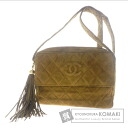 Authentic CHANEL  COCO Mark fringe Charm Shoulder bag Leather x Velour