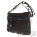 Authentic BALLY  Diagonal multiplication gusset thin Shoulder bag Suede Leather