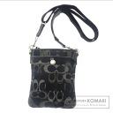 COACH signature pattern shoulder bag nylon x suede Womens
