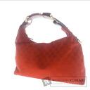 Authentic GUCCI  GGpattern bit Hardware Shoulder bag Canvas Leather