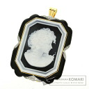 0.16ct Diamond Cameo Brooch 18K Yellow Gold Pt900 18.5