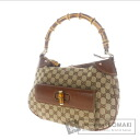 Authentic GUCCI  Bamboo Shoulder bag Canvas x Leather