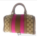 Authentic GUCCI  GGpattern Boston type 2WAY Handbag Canvas Leather