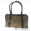Authentic GUCCI  GGpattern mini Boston type Shoulder bag Canvas Leather