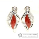 0.03ct Coral Earring PlatinumPT900 K14WG 5.2