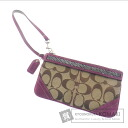 Authentic COACH  Beads signature Accessory pouch Canvas Suede