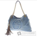 Authentic GUCCI  with logo fringe Charm Shoulder bag Denim