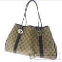 GUCCI GG pattern logo hardware shoulder bag canvas x Leather Womens
