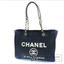 Authentic CHANEL  Deauville MM Tote bag Canvas