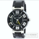 Authentic LOUIS VUITTON Tambour Q113K Overhauled Watch stainless steel Rubber Self-winding Men