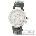 "Authentic CARTIER Pasha 1.5"" Diamond Watch 18K White Gold Alligator Mechanical Automatic Men"