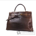 Authentic HERMES  Kelly Flat Gold Hardware Handbag Croco Porosasu