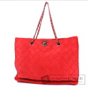 Authentic CHANEL  Stitch design COCO Mark Chain Tote bag Suede