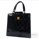 Authentic CHANEL  Stitch design COCO Mark Tote bag Enamel x Leather