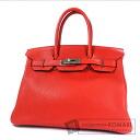 Authentic HERMES  Birkin 30 SilverHardware Handbag Clemence taurillon