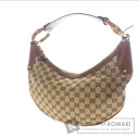 GUCCI GG handle wooden handle shoulder bag canvas x Leather Womens