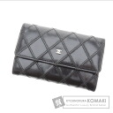 Authentic CHANEL  Business card holder stitch Card case Leather