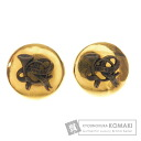 Authentic HERMES  Trumpet ribbon round Earring Metal