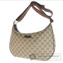Authentic GUCCI  GG pattern webbing line Shoulder bag Canvas