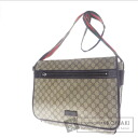 Authentic GUCCI  GG pattern webbing line Shoulder bag PVC leather