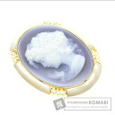 0.14ct Stone cameos Brooch 18K Yellow Gold  11.9