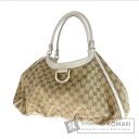 Authentic GUCCI  GGpattern with logo Shoulder bag Canvas x Leather