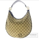 Authentic GUCCI  GGpattern half-moon Shoulder bag Canvas x Leather