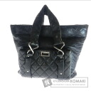 Authentic CHANEL  Logo engraved quilting Tote bag Lambskin