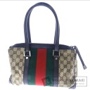 Authentic GUCCI  GG pattern webbing line Handbag Canvas x Leather