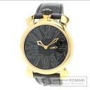Authentic Gaga Milano Manuare Watch Gold Plated Leather  Men