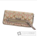 Authentic COACH  signature (With coin purse) Purse Canvas x Leather