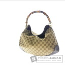Authentic GUCCI  Bamboo GGpattern Shoulder bag Canvas
