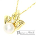 Authentic TIFFANY&Co.  Pearl Pearl / Diamond Necklace 18K Yellow Gold
